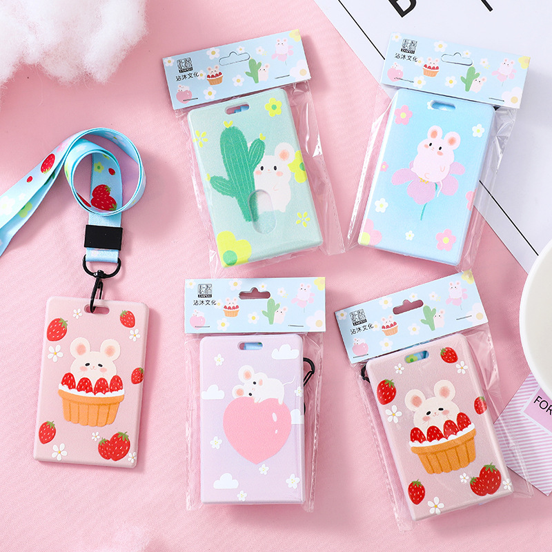 L0055 Creative With Lanyard Card Holder Students Acrylic GIRL'S Heart Cute Halter Mobile Phone Lanyard Campus Card Holder