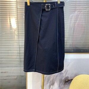 Women skirt 2020 spring summer new Belted temperament mid-length A-line skirt