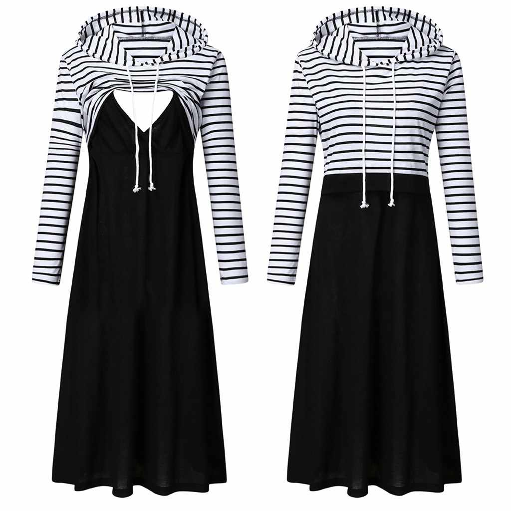 Women Maternity Hooded dress Long Sleeve Striped Nursing Dress For Breastfeeding With Hooded Sweatshirt dress Autumn dresses#