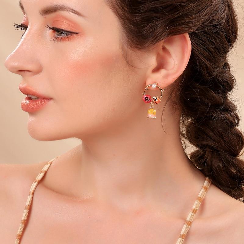 earrings boho copper earrings enameled earrings purple My little birds bird earrings