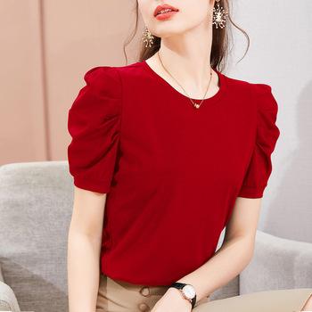 Bufiaste rękawy T koszula kobiety z krótkim rękawem T-shirt bawełna 2021 lato topy z krótkim rękawem odzież damska damska koreańska koszulka koszula Femme tanie i dobre opinie shintimes Rękaw z bufkami Sukno CN (pochodzenie) COTTON spandex REGULAR Z patchworku tops Z KRÓTKIM RĘKAWEM SHORT Dobrze pasuje do rozmiaru wybierz swój normalny rozmiar