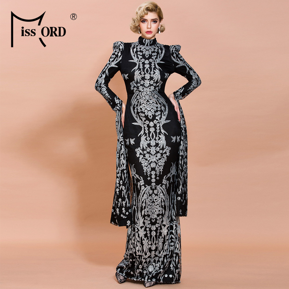 Missord 2020 Women Sexy O Neck Long Sleeve Split Glitter Dresses Female Elegant Maxi Dress  FT19892