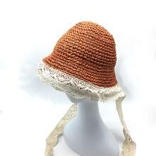 Детская летняя пляжная Складная соломенная шляпа детская фиолетового