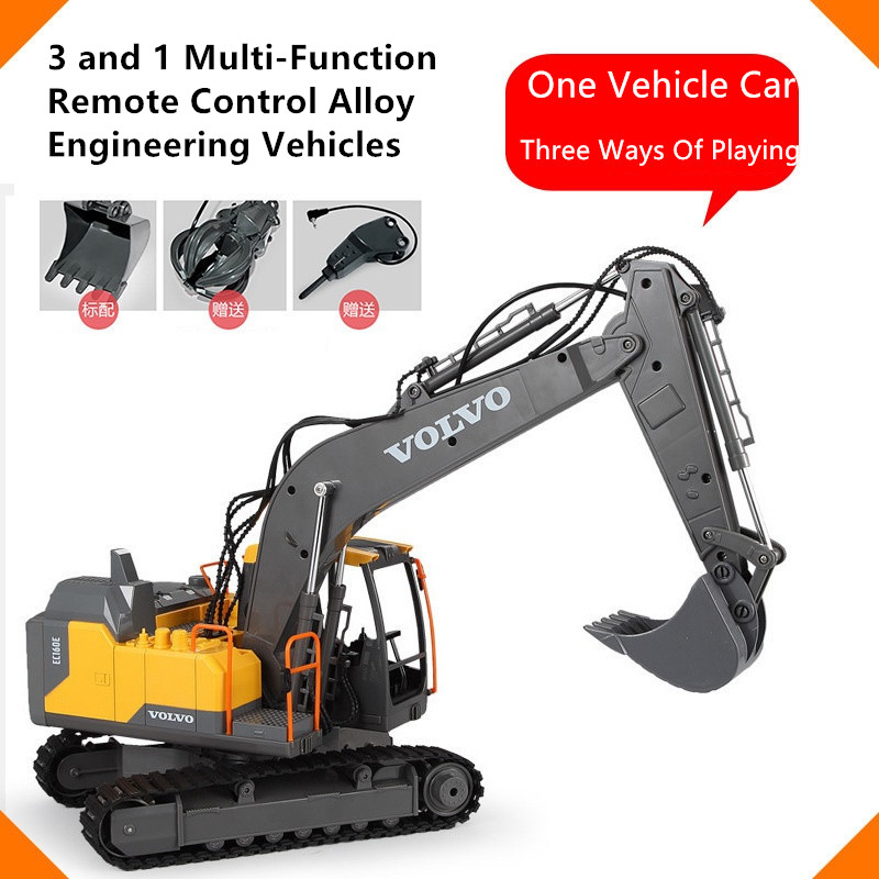 1:16 alloy Excavator Children's educational toys With 3 in 1 Function Console 660° rotation Rc Car engineering Vehicle Excavator|RC Cars| |  - title=