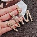 Алфавита м с украшением в виде кристаллов, свисающие серьги для женщин, серьги новый бренд мода со словом рисунком именем буквами большие св...