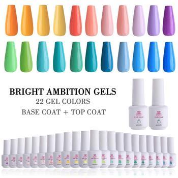 Makartt 24pcs Gel Nail Polish Sets UV LED Gel Nail Polish Kit 8ml 22 Bright Ambition Color Nail Gel Base Coat Top Coat