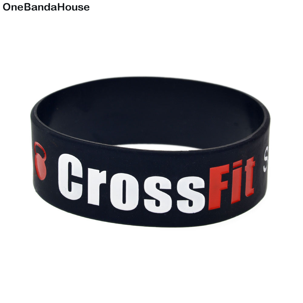 OBH 1PC One Inch Wide CrossFit Squat Jump Climb Throw Lift Silicone Rubber Bracelet