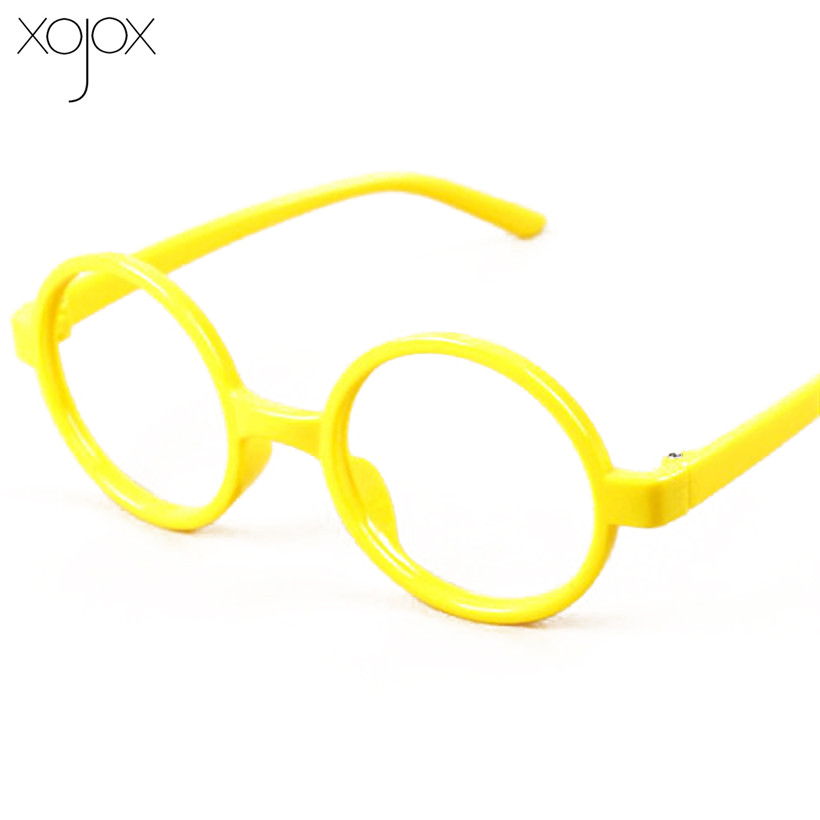 XojoX New Fashion Design Kids Glasses Frame Boys And Girls Cute Decorate No Lens Round Colorful Frame