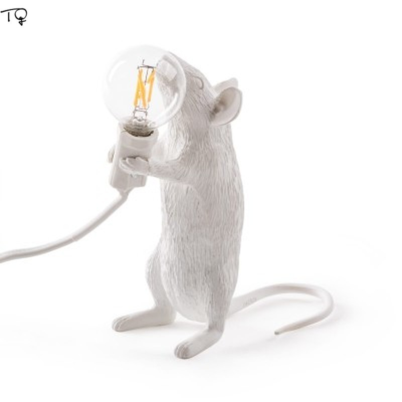 Nordic Resin SELETTI Mouse Led Table Lamps Desk Modern White Gold Cute Art Mouse Lamp Kids Room Bedroom Indoor Light Fixtures in Desk Lamps from Lights Lighting
