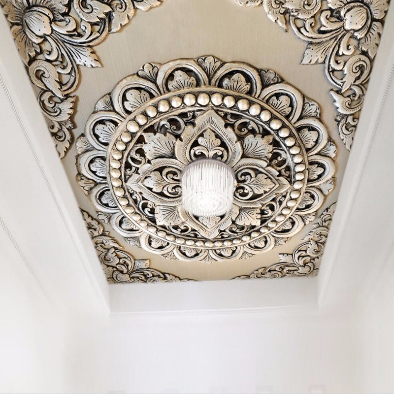 Custom Photo 3D Stereoscopic Silver Jewelry European Style Flower Pattern Embossed Living Room Bedroom Ceiling Murals Wallpaper