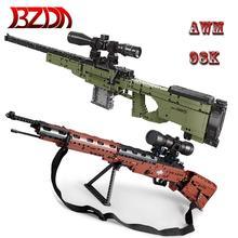 BZDA PUBG Military Gun  Building Blocks AWM 98K Sniper 95 Automatic Rifle Desert Eagle pistol  Model Bricks boys Toys  kids Gift