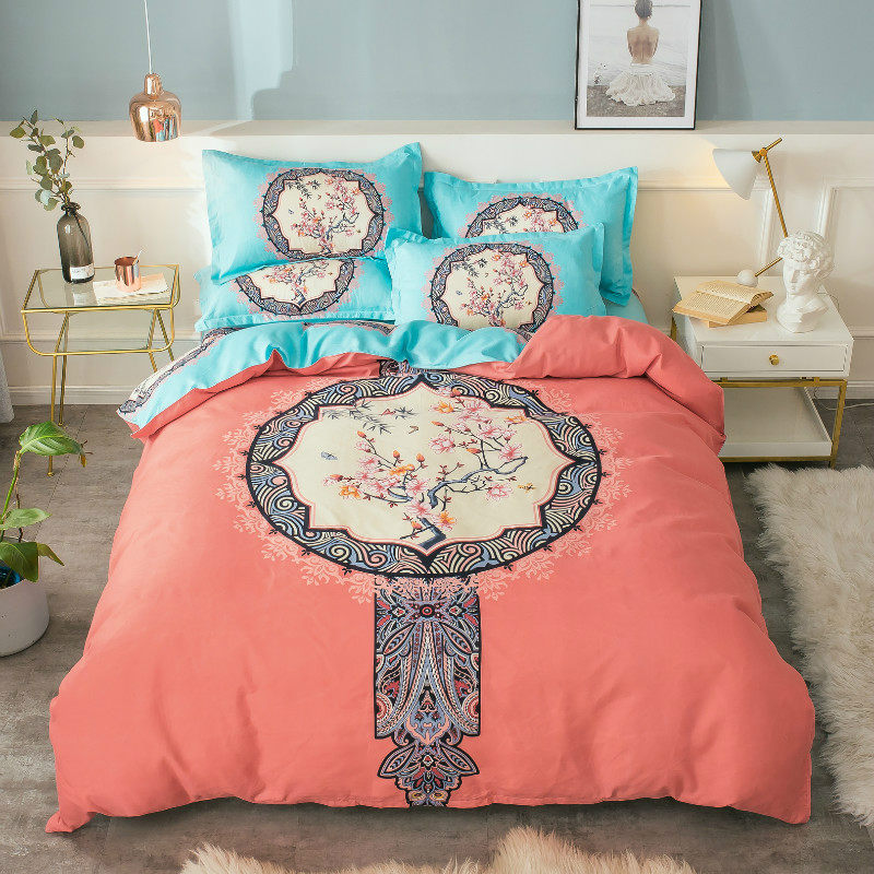 Autumn And Winter New Style Activity Printed Large Version Of Flower Sanding Bedding Article Unicorn Ethnic-Style Four-piece Set