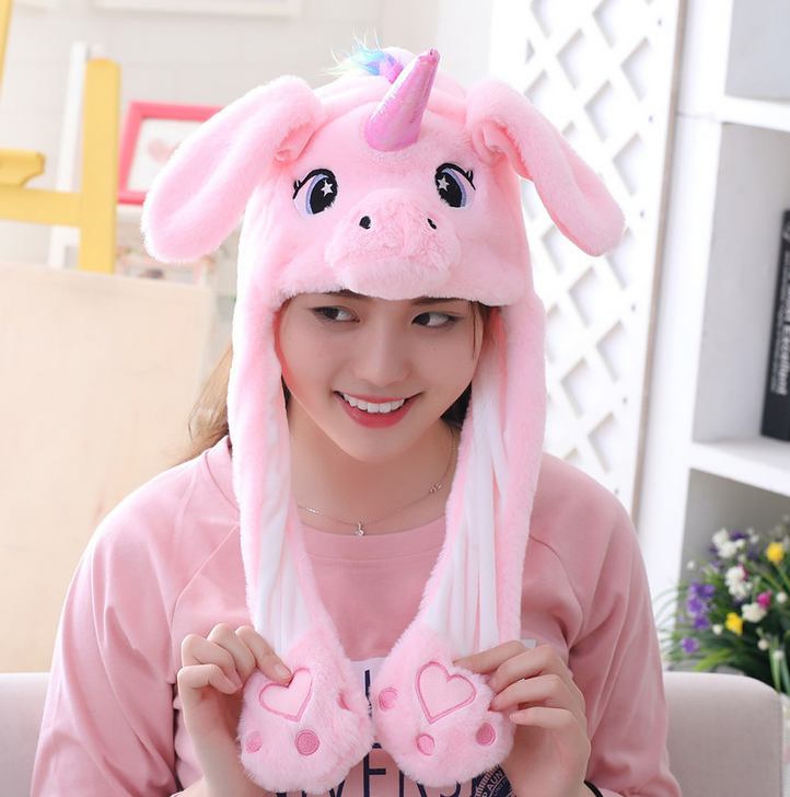 Plush Cap Hat With Moving Ears Cartoon Animals Hat With Light With Movable Ears Funny Toys For Children's Birthday Party Gifts