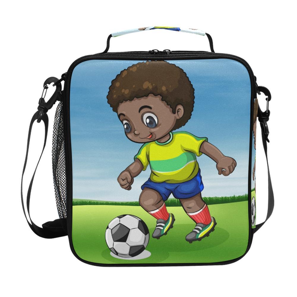 Bolsa de Almoço do Menino de Futebol Refrigerador para Crianças Oxford Comida Preservação Organizador Piquenique Almoço Bolsas Frutas Frescas Isolamento Bolsa Meninas