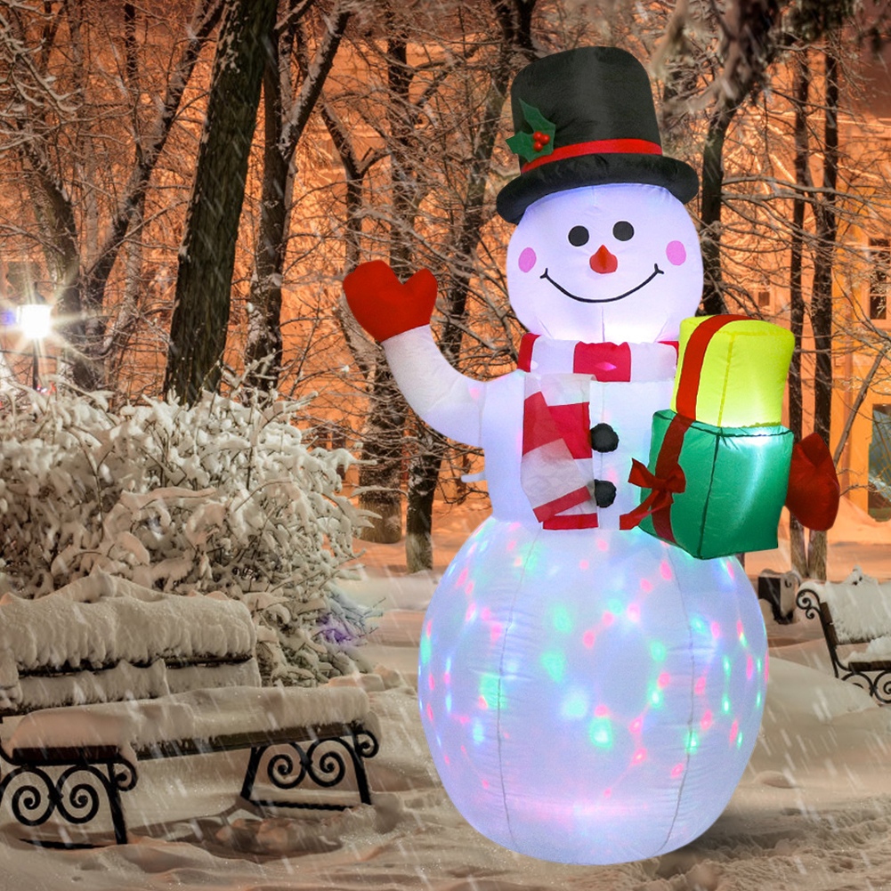 150cm LED Illuminated Inflatable Snowman Air Pump Inflatable Toys Indoor Outdoor Holiday Christmas New Year Party Ornament Decor