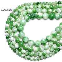 Colorful Green white Persian jade Round Stone Beads for Jewelry Making 15'' Strand DIY Bracelet 6mm 8mm 10mm 12mm