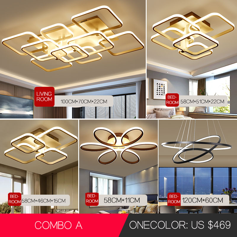 Acylic Ceiling Lights Square Rings For Living Room Bedroom Home AC85-265V Modern Led Ceiling Lamp Fixtures Lustre Plafonnier