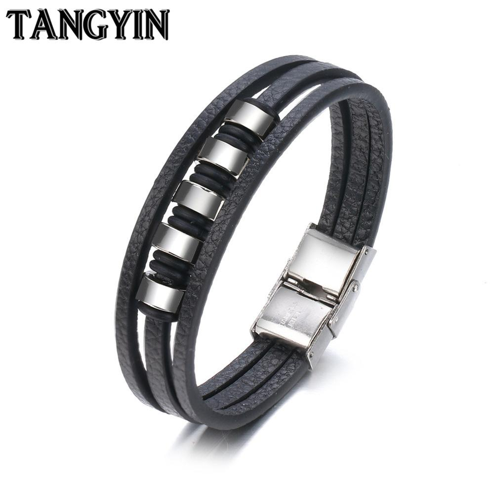TANGYIN New Design Multi-layers Handmade Braided Genuine Leather Bracelet & Bangle For Men Male Hand Jewelry For Birthday Gift