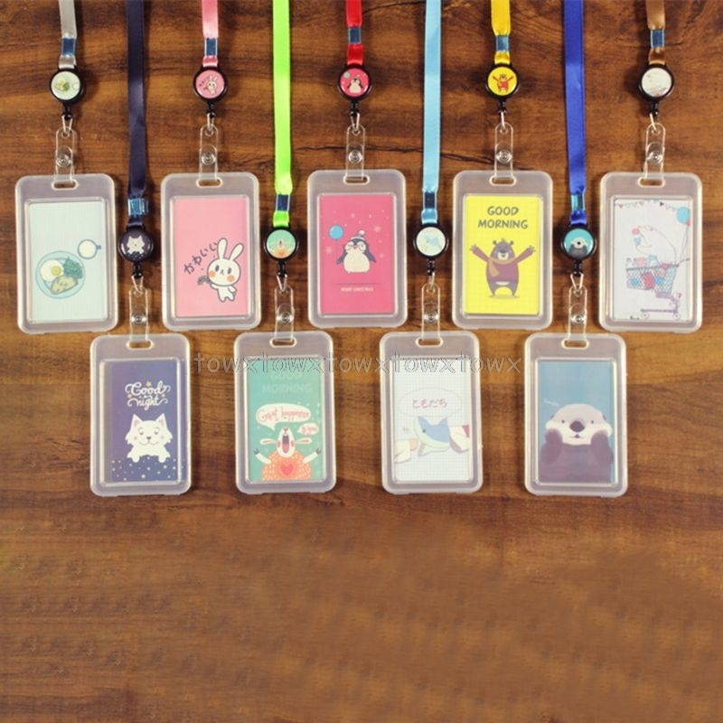 Cartoon Plastic Bus ID Card Holder Case Badge Retractable Reel Neck Strap Lanyard O24 19 Dropship