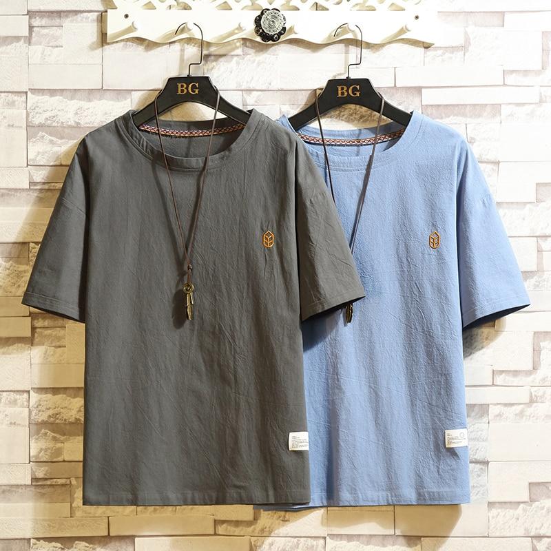 Short Sleeve T Shirt Men 2020 Summer Loose Tshirt Top Tees Chinese LINEN Fashion Clothes Plus Size M-4XL 5XL O NECK