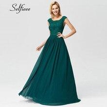 Dark Green Beaded Long Chiffon Dress Women New Arrival Elegant A Line O Neck Sleeveless Appliques Lace Party Formal Maxi