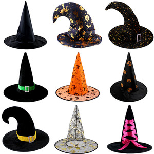 Adult Kids Children Witch Hats Masquerade Ribbon Wizard Hat Cosplay Costume Accessories Halloween Party Fancy Dress Decor(China)