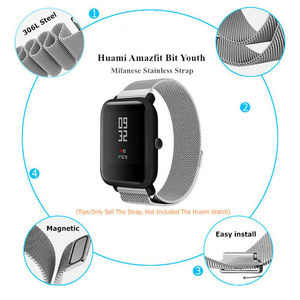 Essidi 20MM Milanese Band For Xiaomi Huami Amazfit Bip Bit Pace Lite Youth Stainless Steel Smart Bracelet Strap Watch Loop