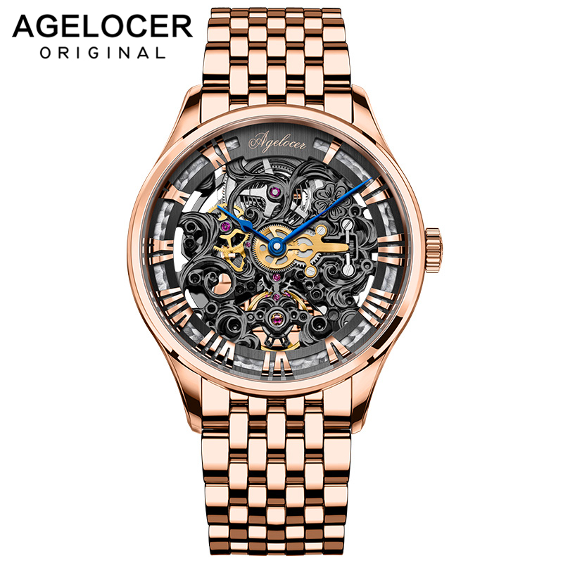 AGELOCER 2019 New Collection Self-wind Sapphire watch Gold Skeleton Swiss Luxury Design Men Watch Top Brand Automatic Watch