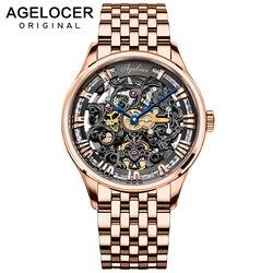 AGELOCER 2019 nowa kolekcja self wiatr szafirowy zegarek złoty szkieletowy szwajcarski luksusowy design mężczyźni oglądać najlepsze marki automatyczny zegarek w Zegarki mechaniczne od Zegarki na