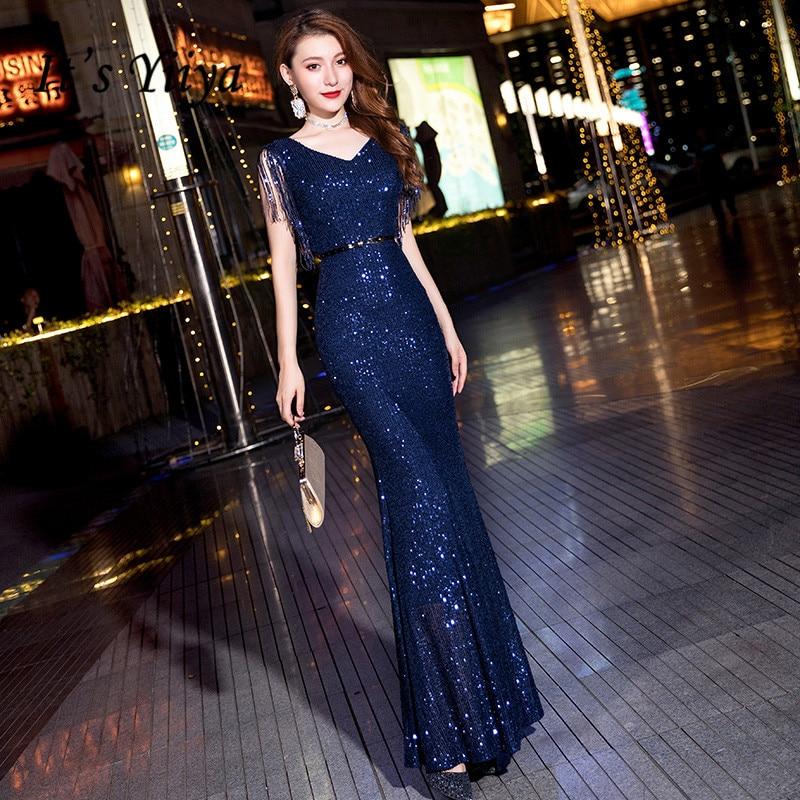 It's Yiiya Evening Dresses Blue Shining Sequined Tassel Evening Dress Sleeveless Elegant Mermaid Formal Gown robe de soiree K048