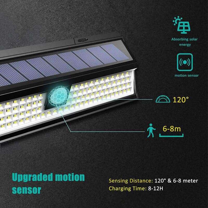 Outdoor Solar Light with 118 LED in 3 Modes and Motion Sensor Powered by Sunlight for Streets and Garden 3