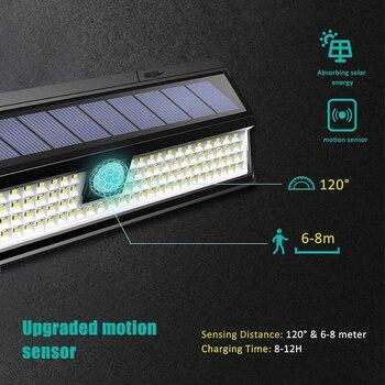 118 Diodo Emissor De Luz Solar Ao Ar Livre Lâmpada Solar Sensor De Movimento Movido A Energia Solar Spotlight 3 Modos Parede Luz Solar Para Rua Jardim Decoração