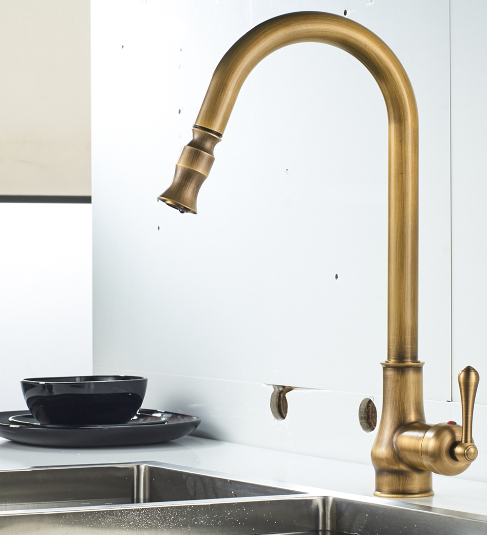 AUSWIND Antique Pull Out Kitchen Faucet Hot And Cold Water Tap Brass Mixer Sink Swivel 360 Degree Mixer Pull Down Mixer Faucet