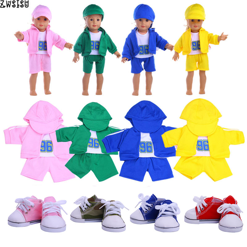 5 Styles Doll Clothes 1 Set=Hat+Long Sleeve Coat+Pants For 18 Inch American Doll&43 Cm Baby Doll For Our Generation  Girl`s Toy