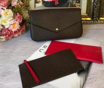 Новинка 2021, модная сумка-кошелек с цепочкой, из 3 частей, Высококачественная быстрая сумка из натуральной кожи, мешочек с пылесборником и кор...