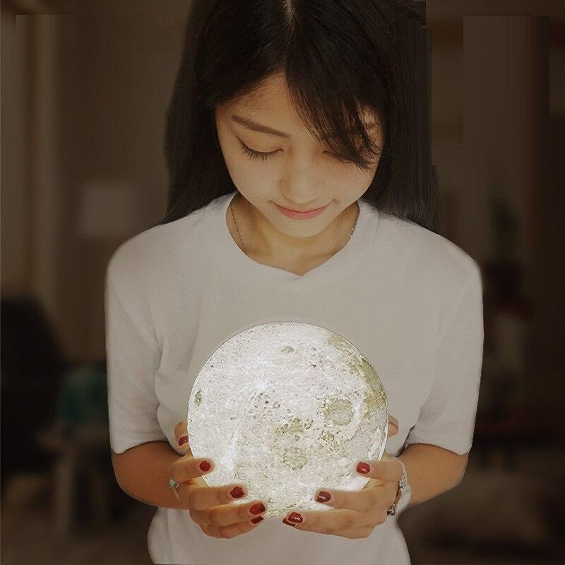 Modern Home 3D Printing 400lm LED Beam Moon Luna Night Light Lamp Birthday Gift