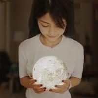 Современный дом 3D печать 400lm светодиодный луч Луна Ночник светильник подарок на день рождения