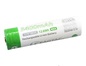 EAGTAC 18650 3400mAh 3.7V Protected Li-ion Battery (10A discharge) Brass Button Top