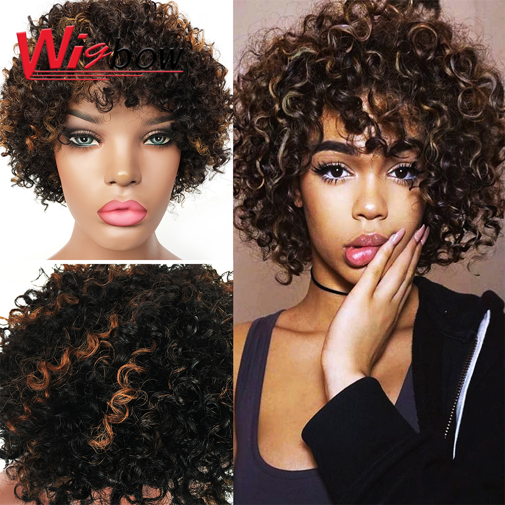 Afro Kinky Curly Wig Mixed Brown And Ombre Blonde Short Wig Natural Black Hair For Women Heat Resistant Hairs