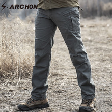 S ARCHON IX8 taktyczne treningu spodnie Cargo mężczyźni SWAT Army bojowe wojskowe spodnie na co dzień bawełniane wiele kieszeni spodnie rozciągliwe męskie tanie tanio s archon Cargo pants Elastan COTTON Wojskowy Zipper fly Pełnej długości Mieszkanie Midweight REGULAR Suknem Kieszenie