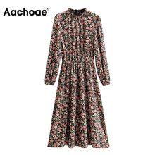 Elegant Dresses Ruffled-Collar Long-Sleeve Elastic Floral-Print Aachoae Vintage Midi