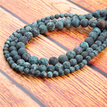 Frosted African Pine Natural Stone Bead Round Loose Spaced Beads 15 Inch Strand 6/8/10mm For Jewelry Making DIY Bracelet