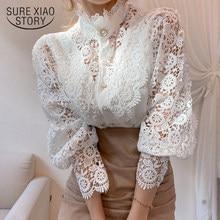 Blusas koronkowa koszula patchworkowa 2021 wiosenne białe bluzki guzik wycięty kwiat stójka kołnierzyk Femme rękaw z płatkami bluzka damska 12419