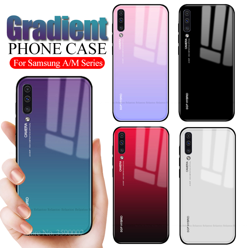 Gradient Case For <font><b>Samsung</b></font> A50 tempered glass Back Cover on the For <font><b>samsung</b></font> galaxy <font><b>A10</b></font> A20 A20E A30 A40 A70 M10 M20 M30 <font><b>Coque</b></font> image