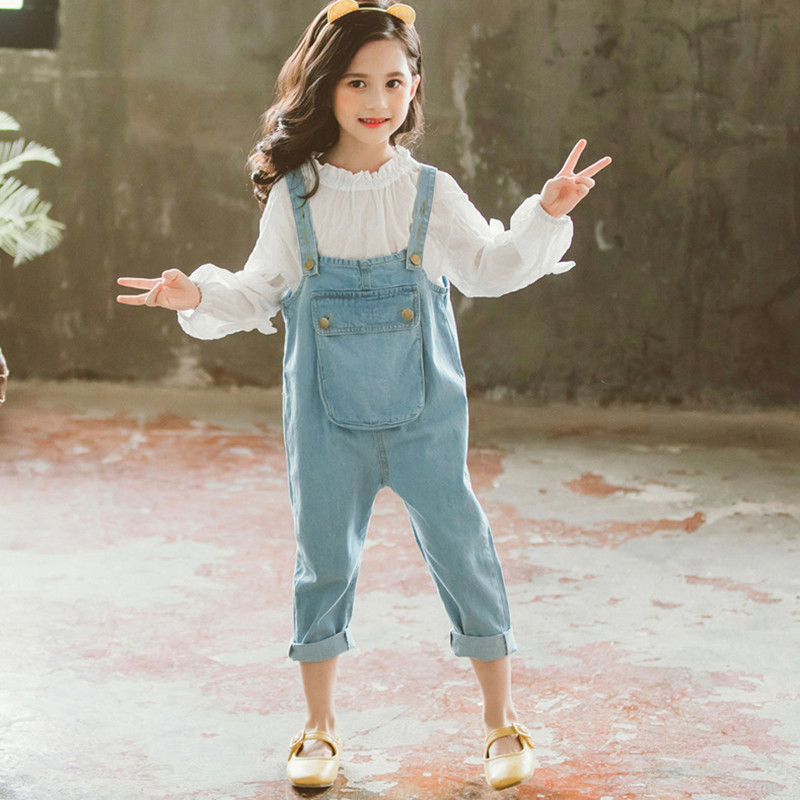 2020 Baby Girls Fashion Spring Denim Overalls Cute Pocket Jeans For Children Kids Loose Trousers Pants Clothes