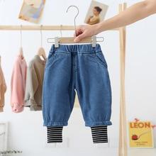 Зимние плотные джинсы в стиле пэчворк для девочек Теплые мягкие флисовые плотные джинсы для мальчиков От 0 до 6 лет