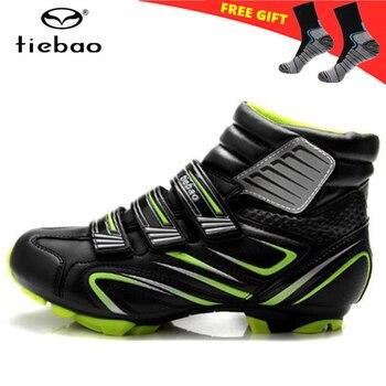 Tiebao inverno mtb sapatos de ciclismo quente das sapatilhas dos homens das mulheres sapatos de bicicleta não-deslizamento sapatos de bicicleta de montanha auto bloqueio mtb botas de bicicleta 1