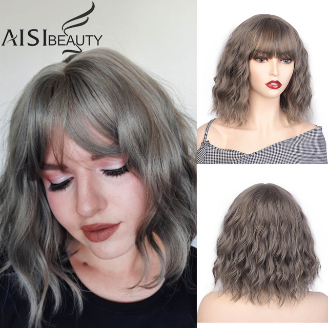 AISI BEAUTY 12Bob Wig Synthetic Wig Womens Water Wavy Wigs With Bangs Brown Black Purple Natural Hair Wig Daily Cosplay Wigs