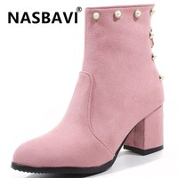 2019 new sweet wild Winter Shoes Women round head Suede Ankle Boots Bead Pearl Boots Zipper square Heels Solid color boots