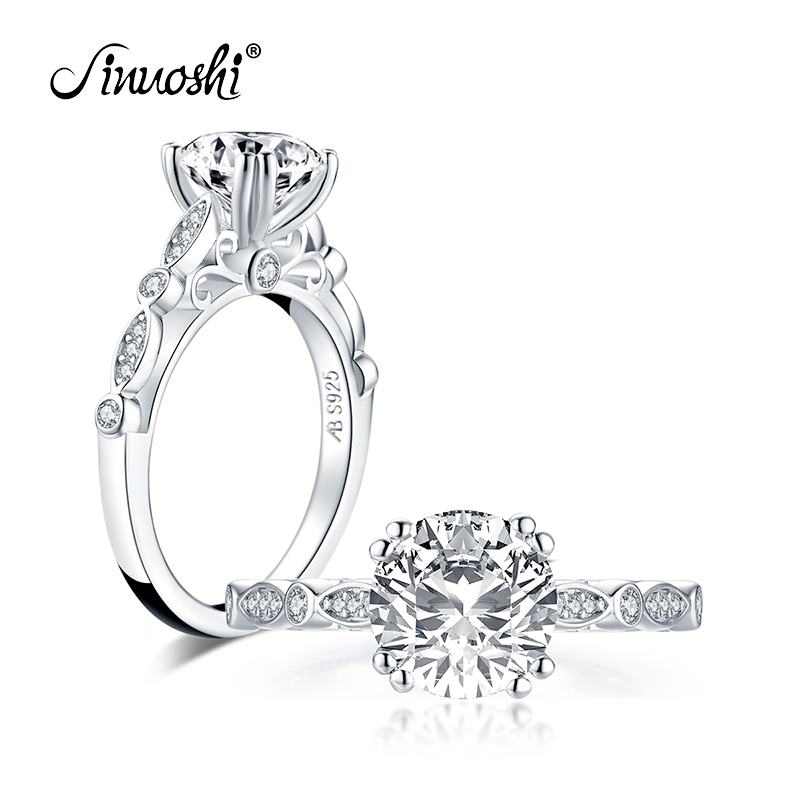Fashion 925 Sterling Silver 2.0 CT Round Cut Ring Engagement Simulated Diamond Women Wedding Silver Rings Jewelry Gifts